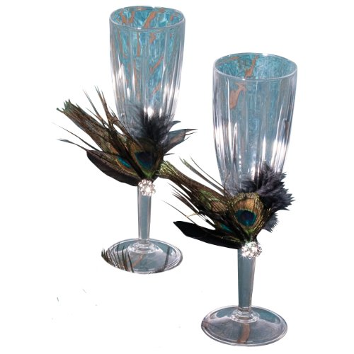 Ivy Lane Wedding Designs Peacock Collection Crystal Toasting Flutes