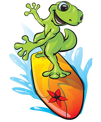 Beach Decals - Gecko Surfing Peel and Stick Fabric Wall Sticker by Wallmonkeys Wall Decals - 18 Inches H x 15 Inches W