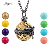Davitu 10pcs/lot Gold Color Hollow Cage Locket Pendant Colorful Harmony Ball Angel Music Caller Chime Ball Necklace for Pregnant Woman - (Main Stone Color: Light Blue Ball) (Color: Light Blue Ball)