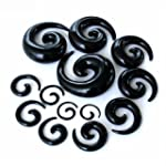 Acrylic Spiral Taper Black Ear Taper...