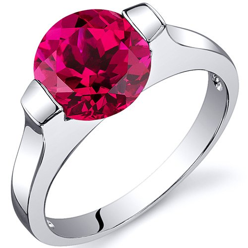 Revoni Bezel Set 2.50 carats Ruby Engagement Ring in Sterling Silver