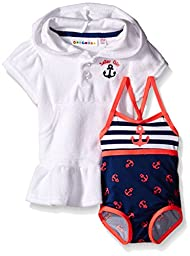 Wippette Baby Anchor Swim and Cover Up Set, Navy, 6-9