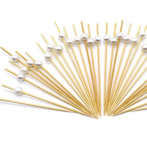 "Cocktail Sticks,Amytalk 100 Counts Swizzle Sticks,4.7"" Handmade Frilled Toothpicks Cocktail Picks for Nibbles Tapas Sandwich Canopes Appetisers (White Pearl)"