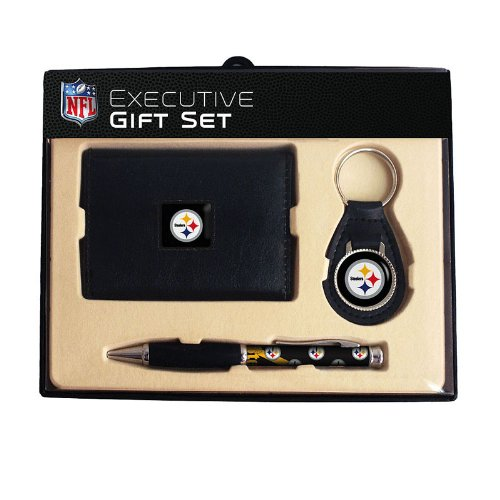 NFL Pittsburgh Steelers Trifold Wallet Key Fob and Comfort Grip Pen Gift Set at Amazon.com