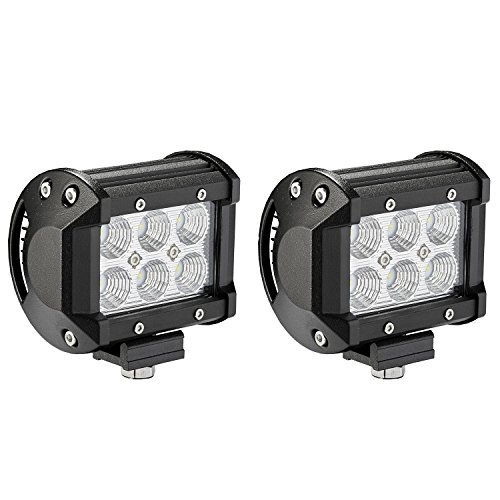 LED Light Bar, Northpole Light [2 Pack] 18W CREE Flood LED Pods LED Work Lights Driving Fog Lights for Off-road, Truck, Car, ATV, SUV, Jeep (Rail Buggy Parts compare prices)