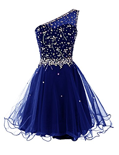 Dresstells Short One Shoulder Prom Dresses Tulle Homecoming Dress with Beads Royal blue Size 10 (Amazon Short Prom Dresses compare prices)