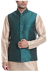 THREADS Men's Silk Ethnic Jacket (JJ142, Green, 42)