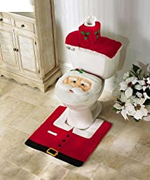 EUBEST Santa Toilet Seat Cover And Rug Set OneSize, Red