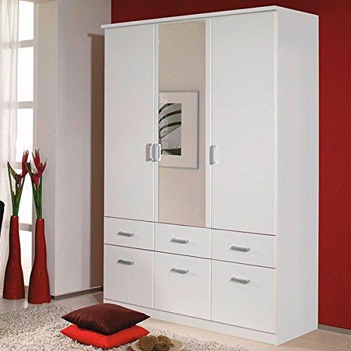 Kleiderschrank weiß 3 Türen B 136 cm Schrank Drehtürenschrank Wäscheschrank Spiegelschrank Kinderzimmer Jugendzimmer Made in Germany günstig kaufen
