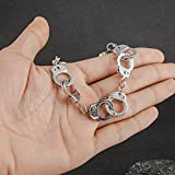 QSKS Silver Charm Handcuff Bracelet with Buckle for Men and Women,8.5''