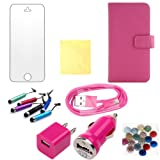 Pink for iphone 5 cases Wallet leather cover Protector Skin flip Iphone5 Case With Credit Card Slots & Holder +car charger+AC wall charger adaptor+usb data cable+screen protector+cleaning cloth+button sticker+touch screen Pen 8in1 (TRAIT)