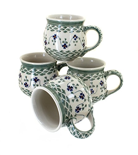 polish-pottery-sage-floral-4-piece-bubble-mug-set