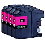 4 Magenta Compatible Brother LC125XLM Printer Ink Cartridges for Brother DCP-J4110DW, MFC-J4410DW, MFC-J4510DW, MFC-J4610DW, MFC-J4710DW