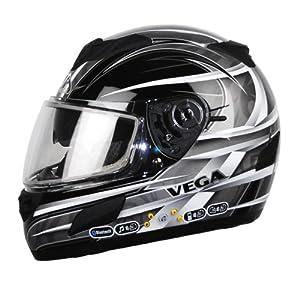 Vega V-Tune Orbit Graphic Snow Full Face Bluetooth Helmet (Black, Small)