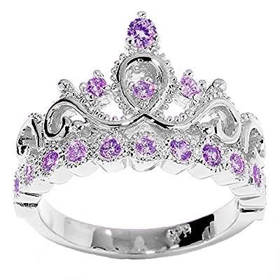 14K Gold Princess Crown with Amethyst Birthstone Ring (February Birthstone)