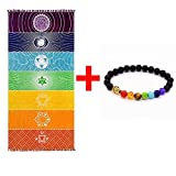 OUTOS Thick Square Bohemia Mandala Yoga Blanket Pure Cotton 7 Chakra Yoga Towel Tassels Rainbow Tapestry Stripes Beach Towel Yoga Mat with Lucky Beads 59x29.5 inch (Tamaño: 59*29.5 inch)