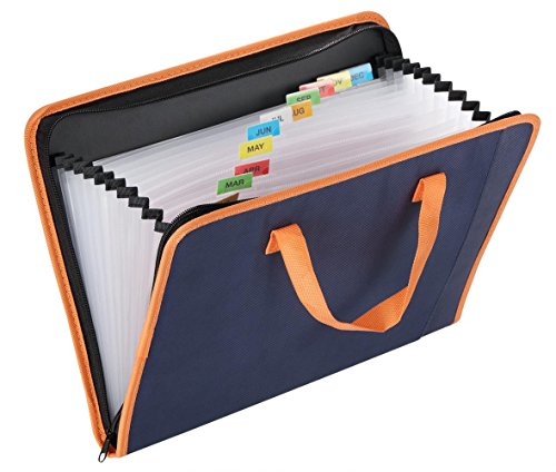 Snail&Hawk Fabric Expanding File-Folder,13-Pockets,Zipper Closure,A4 Size,Orange Handles(Dark Blue) (Binder Cabinet compare prices)