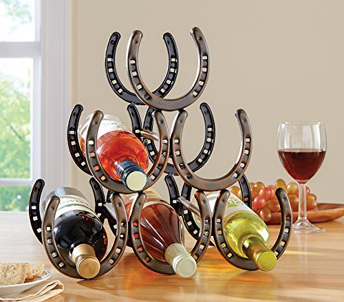Western Horseshoe Wine Bottle Holder Table Top Rack Decor (Wine Cellar Decorations compare prices)