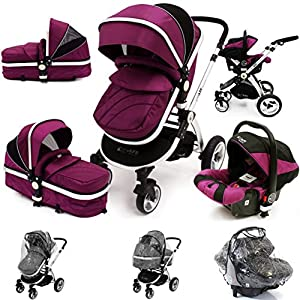 i-Safe System - Plum Trio Travel System Pram & Luxury Stroller 3 in 1 Complete With Car Seat + Rain Covers from iSafe