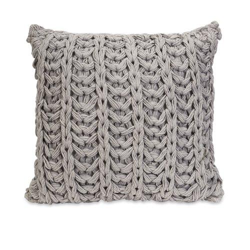 "18"" Gray Crochet Woven Decorative Throw Pillow front-969526"