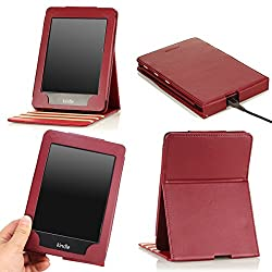 MoKo Vertical Flip Cover Case for Amazon New Kindle Paperwhite with Backlight Dark Red (with Auto Sleep/Wake Function)