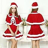 (セルフォ)SALEFO サンタ コスプレ サンタコス クリスマスワンピース 衣装 可愛い Aライン フード マント ワンピース クリアストラップ 4点セット LLL LLLL 大きいサイズ レッド 3xl