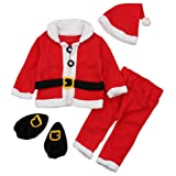 Christmas Costume Baby Clothes Sets Baby Santa Claus Long Sleeve Clothes+Hat+Socking 4Pcs Suits Size 12-18 Months/Tag90 (Red) (Color: Red, Tamaño: 12-18 Months/Tag90)