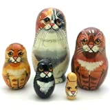 Black Cat nesting dolls Russian Hand Carved Hand Painted 5 piece matryoshka Set