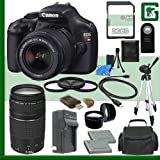 Canon EOS Rebel T3i Digital SLR Camera with EF-S 18-55mm f/3.5-5.6 IS Lens & Canon 75-300 f/4-5.6 III Lens 32GB Package
