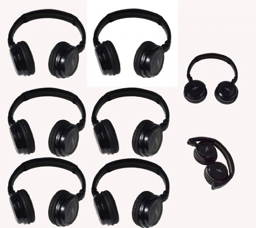 Six Pack Of Two Channel Fold Flat Adjustable Child-Adult Size Universal Rear Entertainment System Infrared Headphones Wireless Ir Dvd Player Head Phones For In Car Tv Video Audio Listening