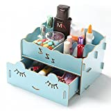 Cosmetic Wood Compartment Drawer Desk Ornaments Case Storage Organizer Ty466 (blue)