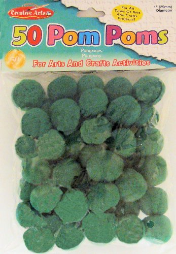 Charles Leonard Pom-Poms, 1 Inch, Green, 50/Bag (69525)