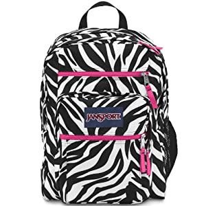 JanSport Big Student Classics Series Daypack, Black/White/Fluorescent Pink