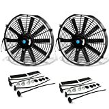 14 Inch High Performance Black Electric Radiator Cooling Fan Assembly Kit...