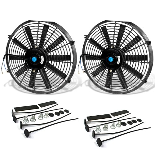 14 Inch High Performance Black Electric Radiator Cooling Fan Assembly Kit (Pack of 2) (14 Inch Electric Radiator Fan compare prices)