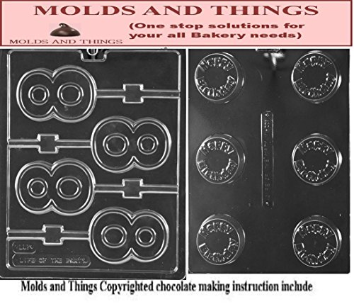 No.8 Lolly Letters and Numbers Chocolate Candy Mold and Happy birthday Cookie Numbers and letters chocolate candy mold with © molding Instructions (Chocolate Mold Number 8 compare prices)
