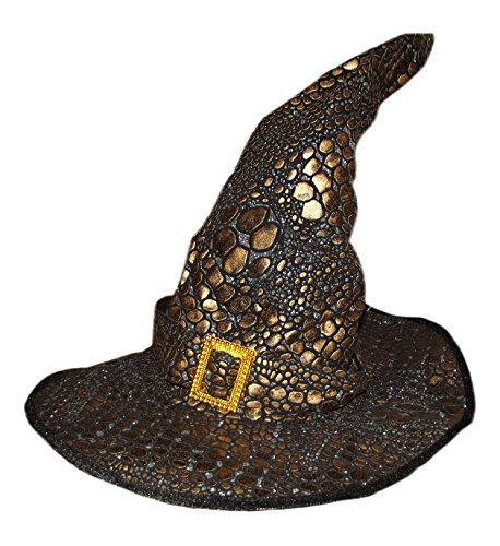 Fun Hat Crocodile Design Adult Brown & Gold Witch Hat with Buckle