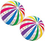 "Intex Jumbo Inflatable Glossy Big Panel Colorful Giant Beach Ball 42"" - #59065 Color May Vary,2 Count"