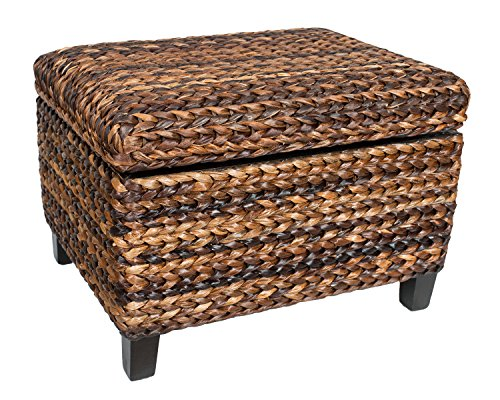 BirdRock Home Woven Seagrass Storage Ottoman | With Safety Hinges (Wicker Storage Ottoman compare prices)