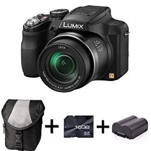 Panasonic Lumix FZ62 - Black + Case and 16GB Memory Card + Extra Battery (16.1MP, 24x Optical Zoom) 3 inch LCD