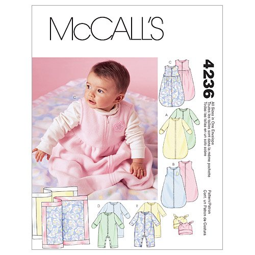 Sale!! McCall's Patterns M4236 Infants' Buntings, Jumpsuits, Hats and Blanket, All Sizes