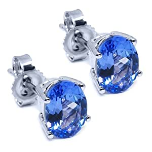 1.60 Ct 7x5mm Oval Natural Tanzanite Solid 14K White Gold Stud Earrings