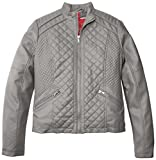 Collection B Big Girls Quilted Front Faux Leather Jacket