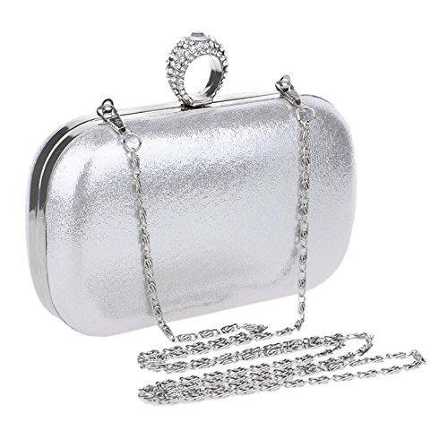 Super carino multi-purpose Vintage Party Borsetta cristallo custodia rigida piccolo portafoglio frizzante speciale , silver