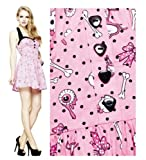 Hell Bunny Black Pink Skulls 50's Psychobilly Vintage Emo Dress Size UK 12 - 14