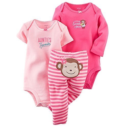 Carters Baby Girls 3-Piece Bodysuit & Pant Set Pink Monkey Preemie