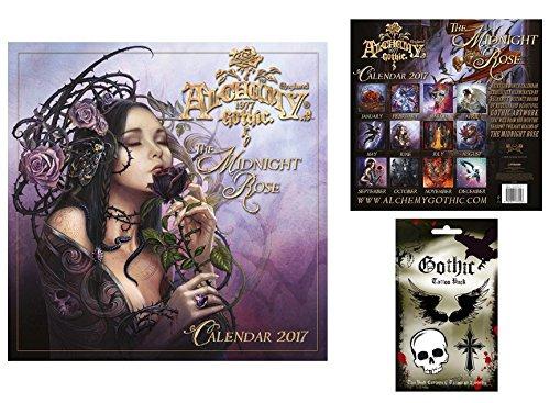 Set: Gothic, Alchemy, Rosa Di Mezzanotte, Calendario Ufficiale 2017 (30x30 cm) E 1x Set Tatuaggi (17x10 cm)