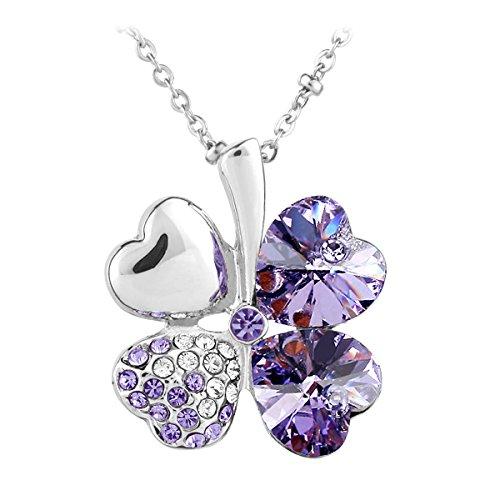 Le Premium® - Collana ciondolo trifoglio con cristalli Swarovski Elements viola + Le Premium® Gift Box
