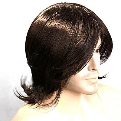HSG 100% Kanekalon Hot Men Hair Wigs Brown Short Wigs for Men Artistic Men Wigs Natural Looking Hair Wig