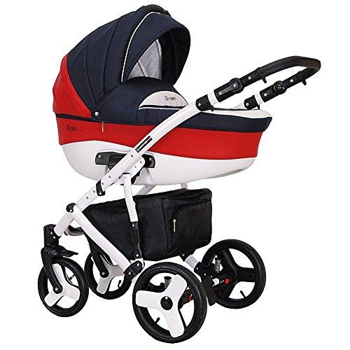Kombikinderwagen-3-in-1-Babywanne-Florino-Sportwagen-Schale-in-Rot
